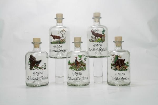 Apothekerflasche 0,5l mit Jagdmotiv und Spruch