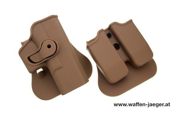 Set Holster und Magazinhalter für Glock 17 & Glock 19 Sandbraun
